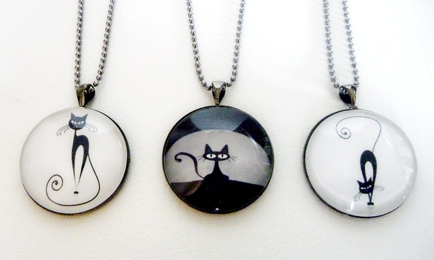 Vintage style lockets glass dome pendants purrrfect pendants for cat lovers choose your favourite one the image is protected behind a 25mm crystal clear glass dome and set into a gunmetal black aloadofball